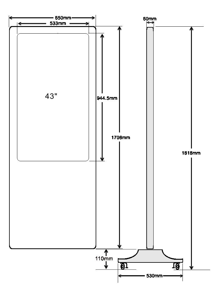 43 inch dimension